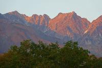 長野県 早朝の唐松岳左の山と不帰ノ嶮中央の山
