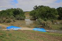 埼玉県 洪水を排出しているホース