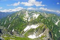富山県 剣岳から立山(中央左奥)薬師岳(中央右奥)