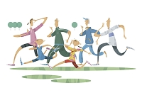 ジョギングをする三世代家族