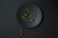 黒い皿とブプレリュームと箸