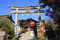 京都府 地主神社 入り口の石鳥居