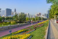 中国 蘭州 黄河沿いの公園