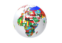国旗の地球儀 アフリカ ヨーロッパ