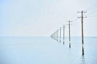 千葉県 木更津市 海に並ぶ電柱