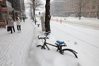 フィンランド ヘルシンキ 雪に埋もれる自転車