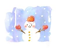 水彩画 雪だるま