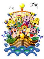トラの七福神と宝船