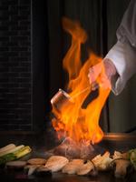 鉄板焼き 黒毛但馬産太田牛フィレ肉のステーキ 調理風景