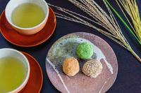 月見団子と日本茶