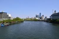 新緑、大川とビジネスパーク方面