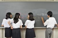 黒板に落書きする高校生たち