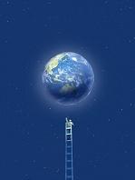 梯子に上って地球を採取