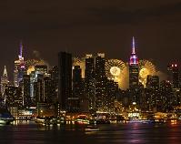 アメリカ合衆国 ニューヨーク マンハッタンの夜景と独立記念日...