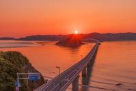 山口県 角島大橋と角島 夕日