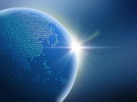 大陸を二進法で描いた地球儀(アジア)