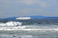 愛知県 伊良湖水道を航行するフェリーと神島
