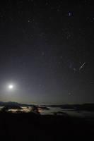 北海道 銀泉台と月星空と流星