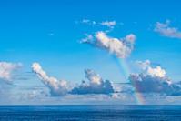 夏の青空に掛かる虹