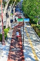 山梨県 甲府市 歩行者・自転車を分けた歩道