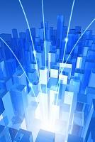 集合する四角柱とネットワークイメージ CG