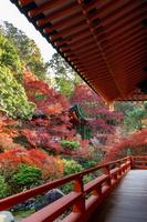 紅葉の毘沙門堂 回廊と弁天堂