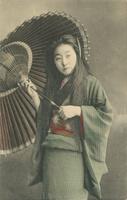 明治~大正初期 日本人女性の肖像 傘 和傘