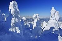 山形県 蔵王の地蔵山の樹氷と朝日連峰
