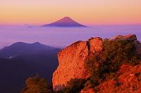 山梨県 朝日に染まる富士山と雲海