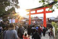 京都府 伏見稲荷大社 参道に続く初詣の行列