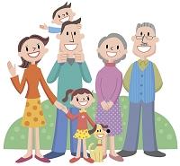 イラスト 三世代家族