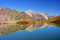 長野県 白馬村 水鏡の八方池と紅葉の白馬岳