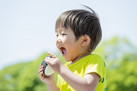 新緑の公園でおにぎりを食べる日本人の男の子