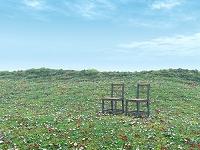 草花の丘と二つの椅子