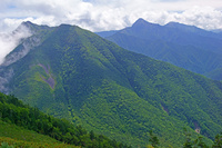 長野県 栗沢山とアサヨ峰左と北岳中央奥の山遠望
