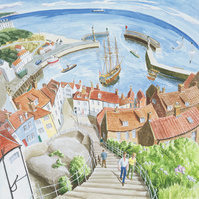 Whitby Harbour, Yorkshire, 2004 (w/c on paper)
