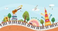 イラスト 音楽にあふれる街