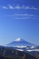 山梨県 朝の富士山と紅葉