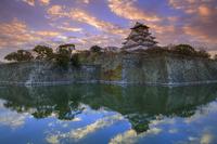 大阪城 朝焼け雲と大阪城