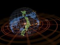 日本と世界地図を映す立体モニター