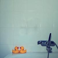 お風呂場に置かれたアヒルの人形