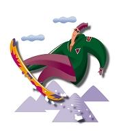 ジャンプをするスノーボーダー
