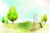 イラスト 芝生の上のイーゼルとパレット