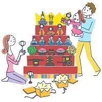 イラスト 雛祭りの家族