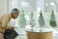 コミュニケーションロボットで遊ぶシニアの日本人女性