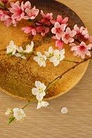 桃と梨の花と和皿