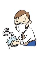 マスクして手を洗う男性