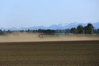 北海道 トラクターと土煙
