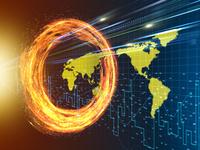 旋回する炎の輪を突き抜ける光線と世界地図