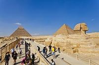 エジプト ギザ スフィンクスとピラミッド